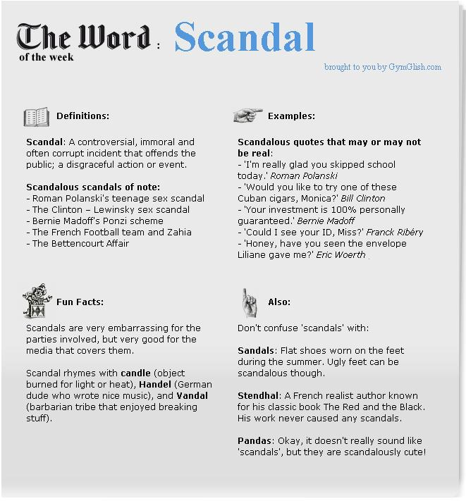 cours anglais scandal